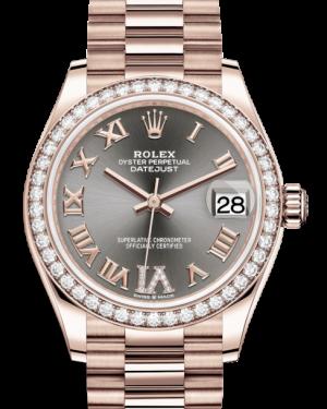 Rolex Lady-Datejust 31 Rose Gold Rhodium Roman Diamond VI Dial & Diamond Bezel President Bracelet 278285RBR - BRAND NEW