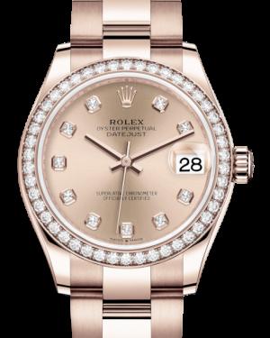 Rolex Lady-Datejust 31 Rose Gold Rose Diamond Dial & Diamond Bezel Oyster Bracelet 278285RBR - BRAND NEW