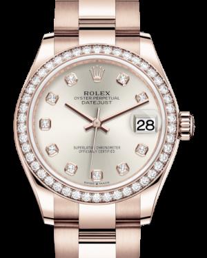 Rolex Lady-Datejust 31 Rose Gold Silver Diamond Dial & Diamond Bezel Oyster Bracelet 278285RBR - BRAND NEW