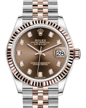 Rolex Lady-Datejust 31 Rose Gold/Steel Chocolate Diamond Dial & Fluted Bezel Jubilee Bracelet 278271 - BRAND NEW