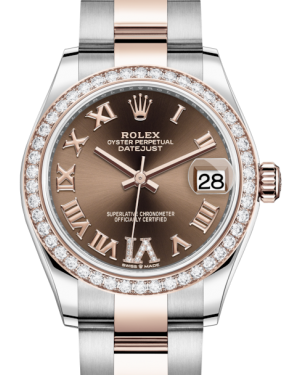 Rolex Lady-Datejust 31 Rose Gold/Steel Chocolate Roman Diamond VI Dial & Diamond Bezel Oyster Bracelet 278381RBR - BRAND NEW
