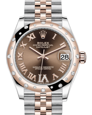 Rolex Lady-Datejust 31 Rose Gold/Steel Chocolate Roman Diamond VI Dial & Domed Set with Diamonds Bezel Jubilee Bracelet 278341RBR - BRAND NEW