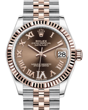 Rolex Lady-Datejust 31 Rose Gold/Steel Chocolate Roman Diamond VI Dial & Fluted Bezel Jubilee Bracelet 278271 - BRAND NEW