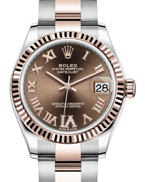 Rolex Lady-Datejust 31 Rose Gold/Steel Chocolate Roman Diamond VI Dial & Fluted Bezel Oyster Bracelet 278271 - BRAND NEW
