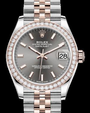 Rolex Lady-Datejust 31 Rose Gold/Steel Rhodium Index Dial & Diamond Bezel Jubilee Bracelet 278381RBR - BRAND NEW