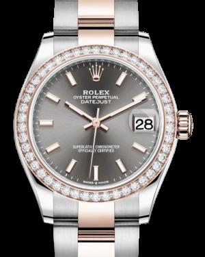 Rolex Lady-Datejust 31 Rose Gold/Steel Rhodium Index Dial & Diamond Bezel Oyster Bracelet 278381RBR - BRAND NEW