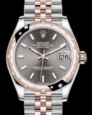 Rolex Lady-Datejust 31 Rose Gold/Steel Rhodium Index Dial & Domed Set with Diamonds Bezel Jubilee Bracelet 278341RBR - BRAND NEW