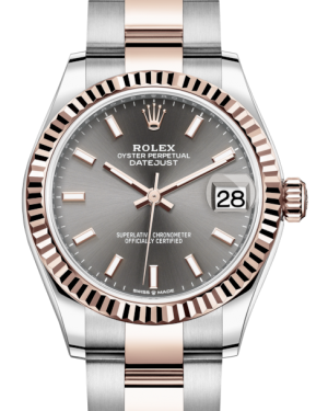 Rolex Lady-Datejust 31 Rose Gold/Steel Rhodium Index Dial & Fluted Bezel Oyster Bracelet 278271 - BRAND NEW