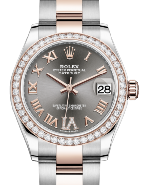 Rolex Lady-Datejust 31 Rose Gold/Steel Rhodium Roman Diamond VI Dial & Diamond Bezel Oyster Bracelet 278381RBR - BRAND NEW