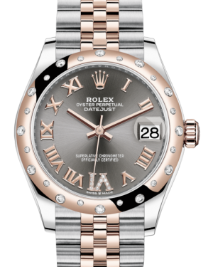 Rolex Lady-Datejust 31 Rose Gold/Steel Rhodium Roman Diamond VI Dial & Domed Set with Diamonds Bezel Jubilee Bracelet 278341RBR - BRAND NEW