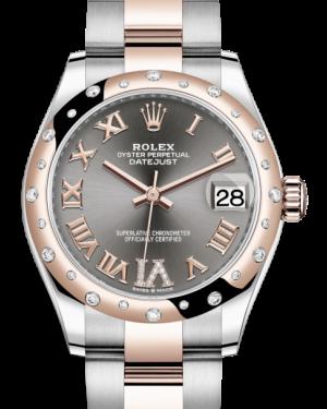 Rolex Lady-Datejust 31 Rose Gold/Steel Rhodium Roman Diamond VI Dial & Domed Set with Diamonds Bezel Oyster Bracelet 278341RBR - BRAND NEW
