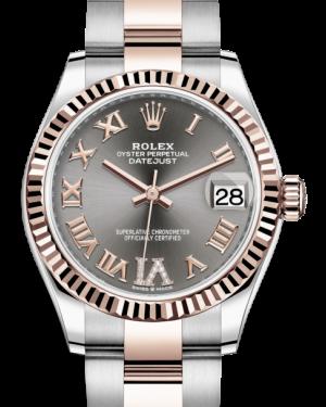 Rolex Lady-Datejust 31 Rose Gold/Steel Slate Roman Diamond VI Dial & Fluted Bezel Oyster Bracelet 278271 - BRAND NEW