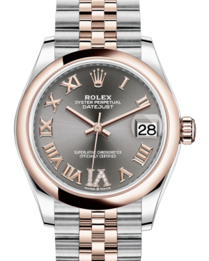 Rolex Lady-Datejust 31 Rose Gold/Steel Rhodium Roman Diamond VI Dial & Smooth Domed Bezel Jubilee Bracelet 278241 - BRAND NEW