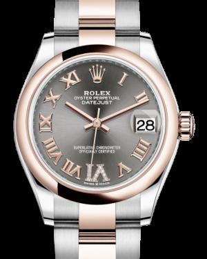 Rolex Lady-Datejust 31 Rose Gold/Steel Rhodium Roman Diamond VI Dial & Smooth Domed Bezel Oyster Bracelet 278241 - BRAND NEW