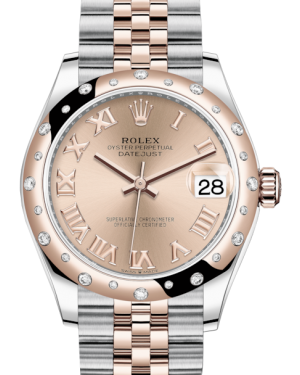 Rolex Lady-Datejust 31 Rose Gold/Steel Rose Roman Dial & Domed Set with Diamonds Bezel Jubilee Bracelet 278341RBR - BRAND NEW