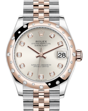 Rolex Lady-Datejust 31 Rose Gold/Steel Silver Diamond Dial & Domed Set with Diamonds Bezel Jubilee Bracelet 278341RBR - BRAND NEW
