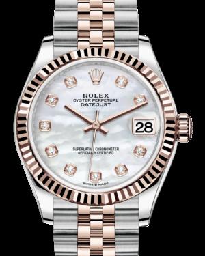 Rolex Lady-Datejust 31 Rose Gold/Steel White Mother of Pearl Diamond Dial & Fluted Bezel Jubilee Bracelet 278271 - BRAND NEW