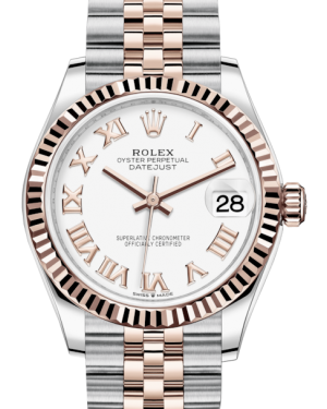 Rolex Lady-Datejust 31 Rose Gold/Steel White Roman Dial & Fluted Bezel Jubilee Bracelet 278271 - BRAND NEW