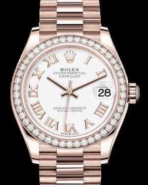 Rolex Lady-Datejust 31 Rose Gold White Roman Dial & Diamond Bezel President Bracelet 278285RBR - BRAND NEW