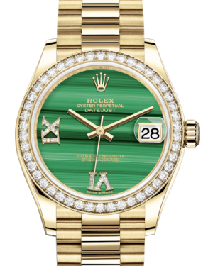 Rolex Lady-Datejust 31 Yellow Gold Malachite Roman Diamond VI Dial & Diamond Bezel President Bracelet 278288RBR - BRAND NEW