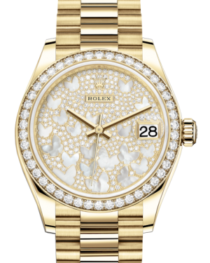 Rolex Lady-Datejust 31 Yellow Gold Mother of Pearl Butterfly Diamond Paved Dial & Diamond Bezel President Bracelet 278288RBR - BRAND NEW
