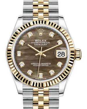 Rolex Lady-Datejust 31 Yellow Gold/Steel Black Mother of Pearl Diamond Dial & Fluted Bezel Jubilee Bracelet 278273 - BRAND NEW