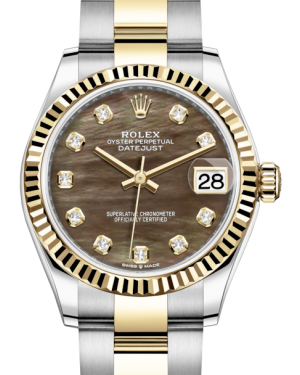 Rolex Lady-Datejust 31 Yellow Gold/Steel Black Mother of Pearl Diamond Dial & Fluted Bezel Oyster Bracelet 278273 - BRAND NEW