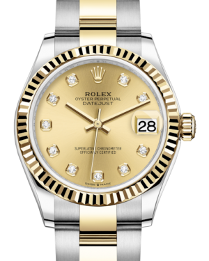 Rolex Lady-Datejust 31 Yellow Gold/Steel Champagne Diamond Dial & Fluted Bezel Oyster Bracelet 278273 - BRAND NEW