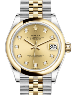 Rolex Lady-Datejust 31 Yellow Gold/Steel Champagne Diamond Dial & Smooth Domed Bezel Jubilee Bracelet 278243 - BRAND NEW