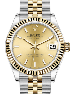 Rolex Lady-Datejust 31 Yellow Gold/Steel Champagne Index Dial & Fluted Bezel Jubilee Bracelet 278273 - BRAND NEW