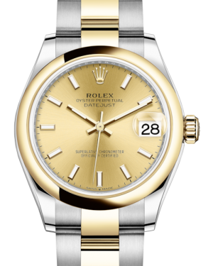 Rolex Lady-Datejust 31 Yellow Gold/Steel Champagne Index Dial & Smooth Domed Bezel Oyster Bracelet 278243 - BRAND NEW