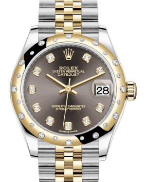 Rolex Lady-Datejust 31 Yellow Gold/Steel Dark Grey Diamond Dial & Domed Set with Diamonds Bezel Jubilee Bracelet 278343RBR - BRAND NEW