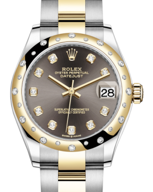 Rolex Lady-Datejust 31 Yellow Gold/Steel Dark Grey Diamond Dial & Domed Set with Diamonds Bezel Oyster Bracelet 278343RBR - BRAND NEW