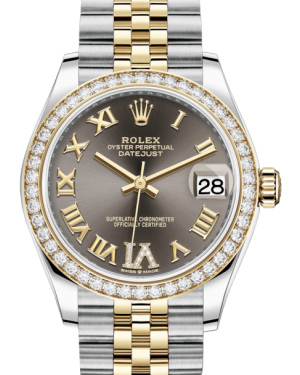 Rolex Lady-Datejust 31 Yellow Gold/Steel Dark Grey Roman Diamond VI Dial & Diamond Bezel Jubilee Bracelet 278383RBR - BRAND NEW
