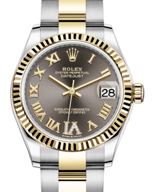 Rolex Lady-Datejust 31 Yellow Gold/Steel Dark Grey Roman Diamond VI Dial & Fluted Bezel Oyster Bracelet 278273 - BRAND NEW
