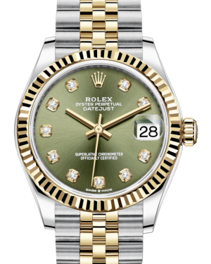 Rolex Lady-Datejust 31 Yellow Gold/Steel Olive Green Diamond Dial & Fluted Bezel Jubilee Bracelet 278273 - BRAND NEW