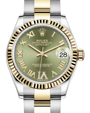 Rolex Lady-Datejust 31 Yellow Gold/Steel Olive Green Roman Diamond VI Dial & Fluted Bezel Oyster Bracelet 278273 - BRAND NEW