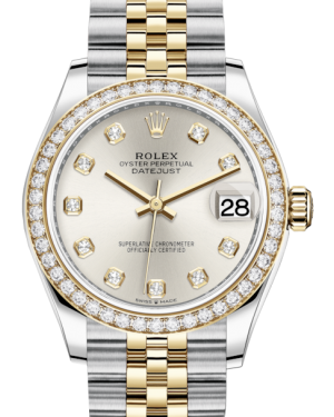 Rolex Lady-Datejust 31 Yellow Gold/Steel Silver Diamond Dial & Diamond Bezel Jubilee Bracelet 278383RBR - BRAND NEW