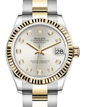 Rolex Lady-Datejust 31 Yellow Gold/Steel Silver Diamond Dial & Fluted Bezel Oyster Bracelet 278273 - BRAND NEW