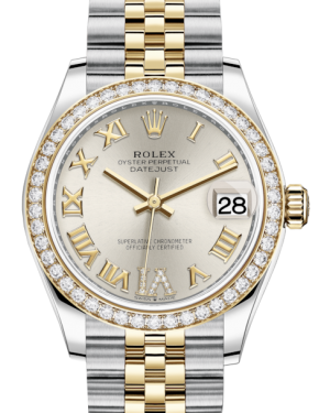 Rolex Lady-Datejust 31 Yellow Gold/Steel Silver Roman Diamond VI Dial & Diamond Bezel Jubilee Bracelet 278383RBR - BRAND NEW