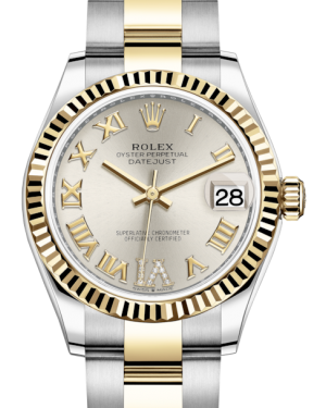 Rolex Lady-Datejust 31 Yellow Gold/Steel Silver Roman Diamond VI Dial & Fluted Bezel Oyster Bracelet 278273 - BRAND NEW