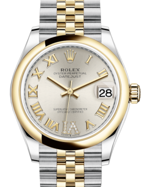 Rolex Lady-Datejust 31 Yellow Gold/Steel Silver Roman Diamond VI Dial & Smooth Domed Bezel Jubilee Bracelet 278243 - BRAND NEW