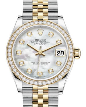 Rolex Lady-Datejust 31 Yellow Gold/Steel White Mother of Pearl Diamond Dial & Diamond Bezel Jubilee Bracelet 278383RBR - BRAND NEW