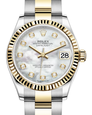 Rolex Lady-Datejust 31 Yellow Gold/Steel White Mother of Pearl Diamond Dial & Fluted Bezel Oyster Bracelet 278273 - BRAND NEW