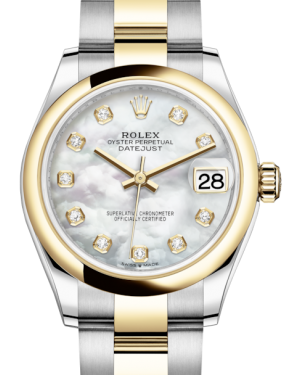 Rolex Lady-Datejust 31 Yellow Gold/Steel White Mother of Pearl Diamond Dial & Smooth Domed Bezel Oyster Bracelet 278243 - BRAND NEW