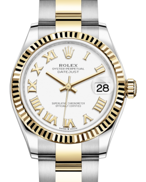 Rolex Lady-Datejust 31 Yellow Gold/Steel White Roman Dial & Fluted Bezel Oyster Bracelet 278273 - BRAND NEW