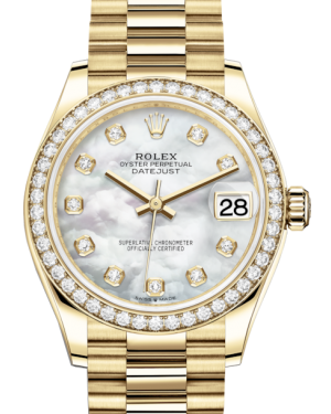 Rolex Lady-Datejust 31 Yellow Gold White Mother of Pearl Diamond Dial & Diamond Bezel President Bracelet 278288RBR - BRAND NEW