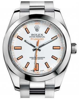 Rolex Milgauss 116400 White Index 116400WO Orange Stainless Steel - BRAND NEW