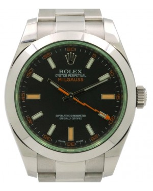 Rolex Milgauss Anniversary Green Crystal Steel Black Dial Smooth Bezel Oyster 116400GV - PRE-OWNED