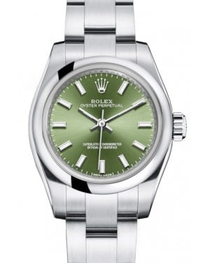 Rolex Oyster Perpetual 26 Ladies Stainless Steel Olive Green Index Dial Smooth Bezel & Oyster Bracelet 176200 - BRAND NEW